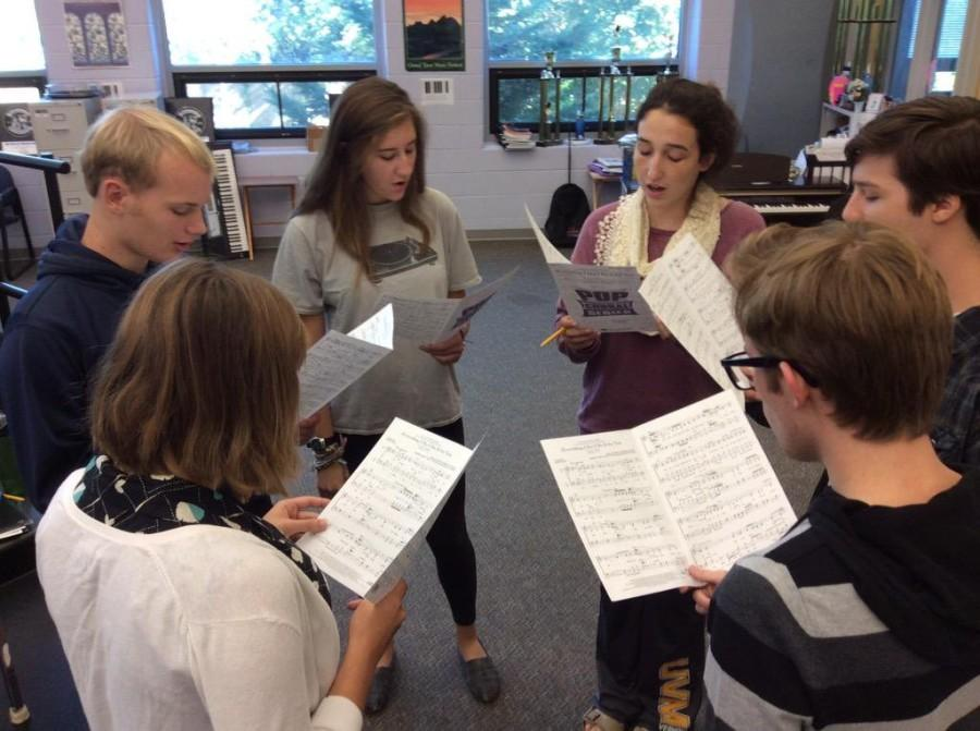 Member of the Chamber Choir (Madrigals) rehearse music in hopes of improving vocal technique for the District Choir Auditions.