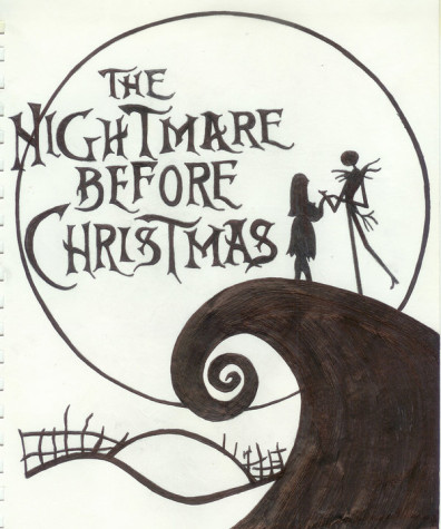 A hand drawn picture of the Nightmare Before Christmas important moment where Skeleton Jack meets his love interest, Sally.