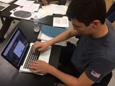 Senior Thanos Sarreas works on his Common Application essay.