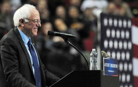 Bernie Sanders speaks at a rally in Portland, Oregon, on March 25. During his speech, a bird landed on the podium during his speech and resulted in popular usage of the punny nickname Birdie Sanders.