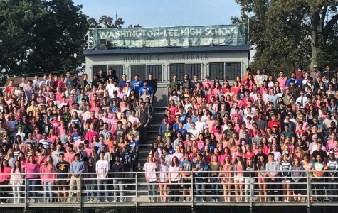 Seniors line up for the traditional senior panoramic photo.