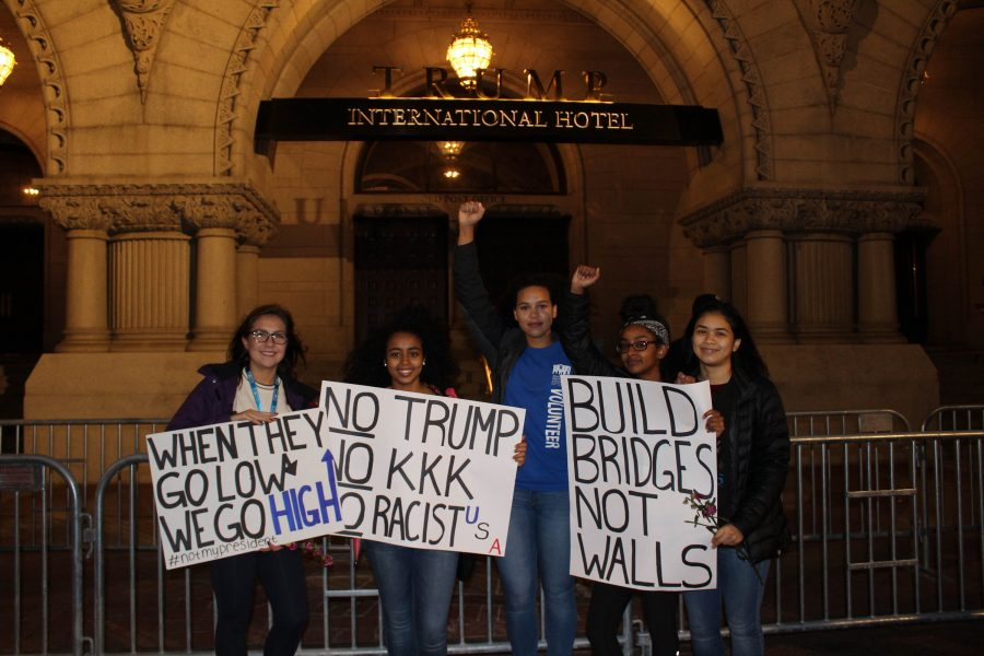 Members of the schools Black Lives Matter club protest president-elect Donald Trump.