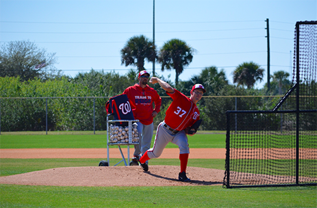 Nationals Pitcher Stephen Strasburg faces his first live batters of the spring season in West Palm Beach.