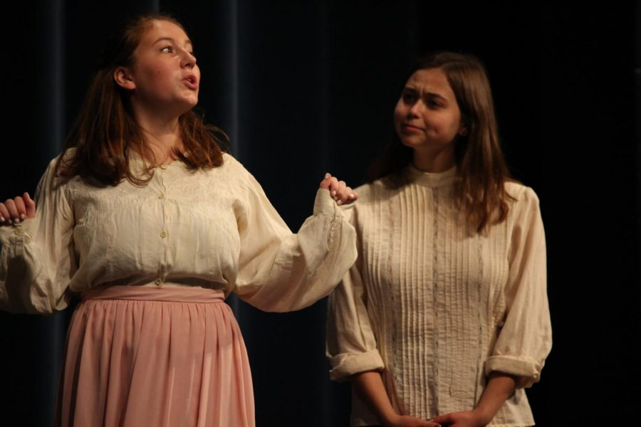 Liza Harold and Grace Ann Brown act out a scene from the first one act play,