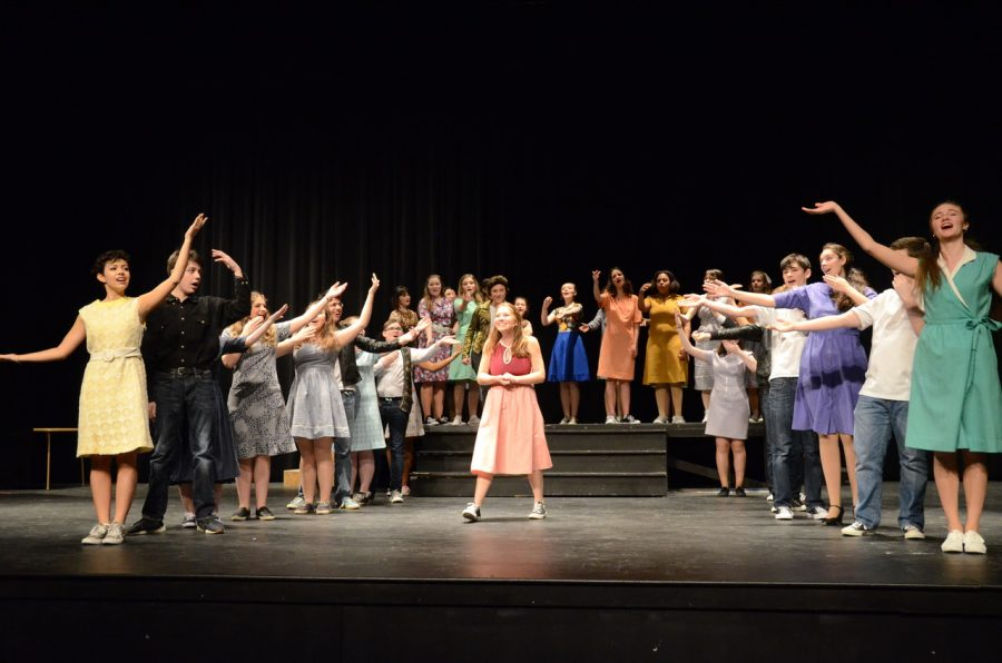 The+cast+of+Bye+Bye+Birdie+performs+in+the+auditorium.+Performance+dates+for+the+annual+musical+are+February+1-3.