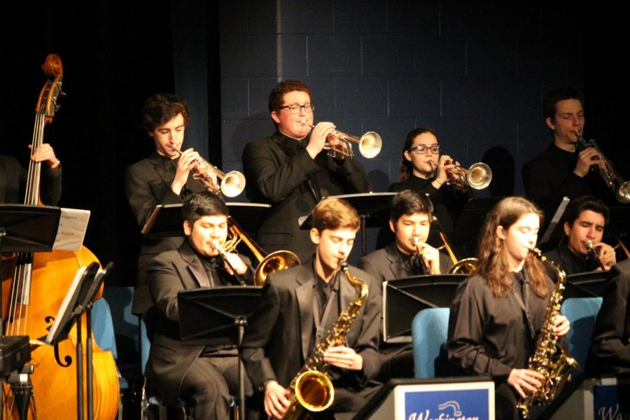 Dominguez plays trombone  with the Jazz Big Band.