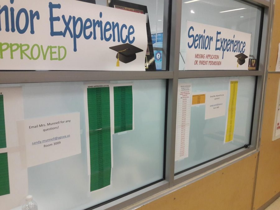 Signs outside the IB office announce the buildup to senior experience