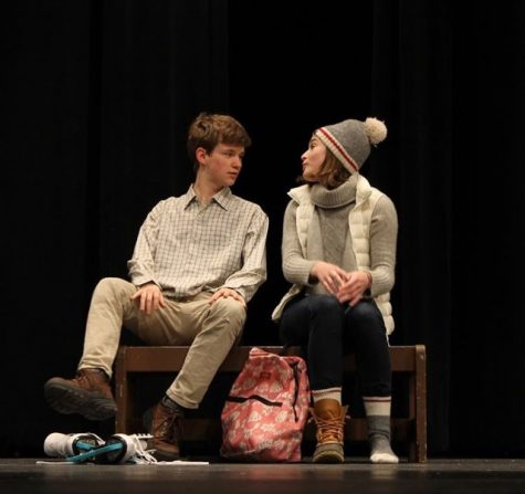 Seniors Caleb Dunham and Avery Erskine perform a scene from Almost, Maine, which has performances April 26-28.
