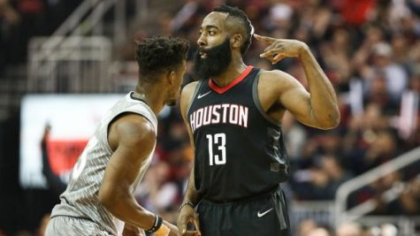 Apr 15, 2018; Houston, TX, USA; Houston Rockets guard James Harden (13) celebrates after scoring as Minnesota Timberwolves guard Jimmy Butler (23) loos on  during the first quarter against the in game one of the first round of the 2018 NBA Playoffs at Toyota Center. Mandatory Credit: Troy Taormina-USA TODAY Sports