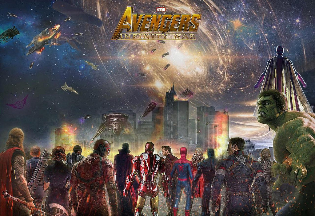 The Marvel Cinematic Universe Characters represented on a movie poster