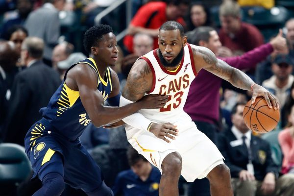 Victor Oladipo guards LeBron James