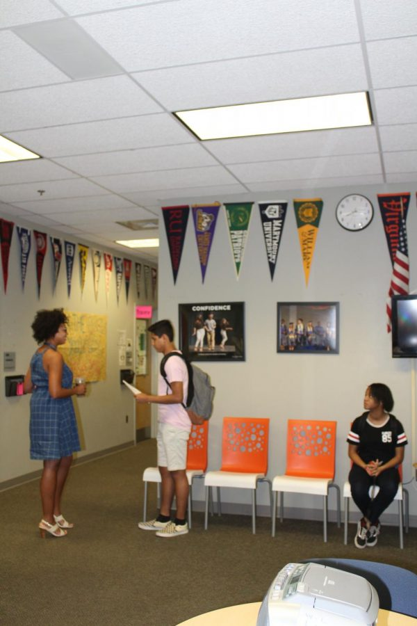 Students wait to meet with their counselors. The counseling office offers many resources for counselors to use to help students pay for college.