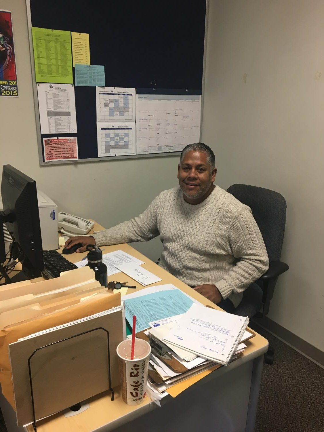 Mr. Jimmy Carrasquillo, the school's Hispanic Family Liaison, works with spanish speaking students to translate and work with them to make their time at the school better.
