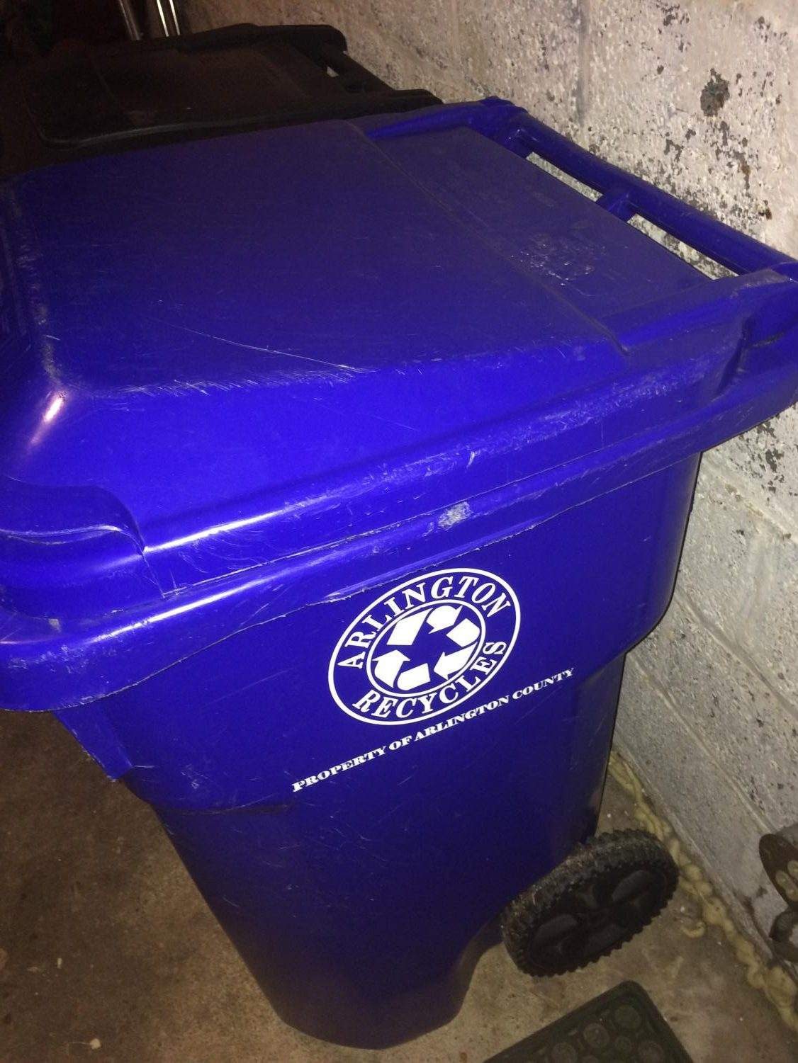 One of the recycling bins provided by the county. Arlington earns different amounts of money based on the type of items people recycle.