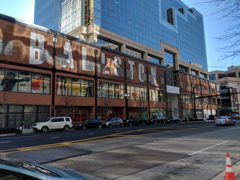 The mall construction workers recently painted Ballston's name onto the side of the building. The newly-restored mall features several new entertainment options.