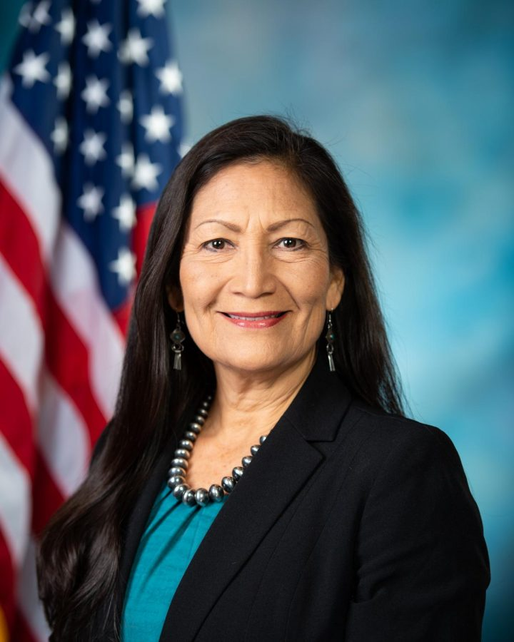 Congresswoman+Deb+Haaland+stands+for+her+official+congressional+photo.