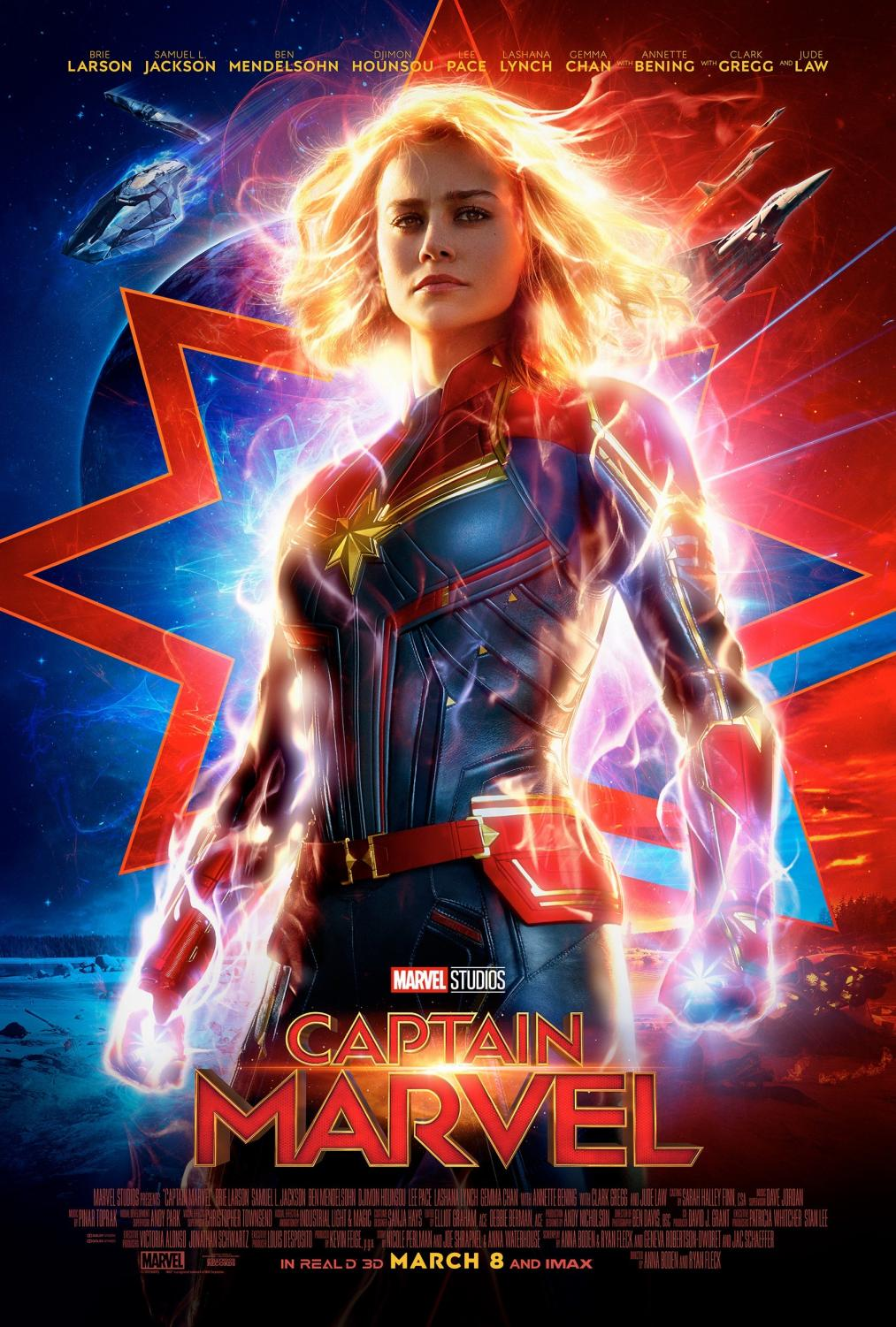"Captain Marvel showcases her power of energy manipulation in the latest poster for the film. ""Captain Marvel"" will be released in cinemas on March 8."