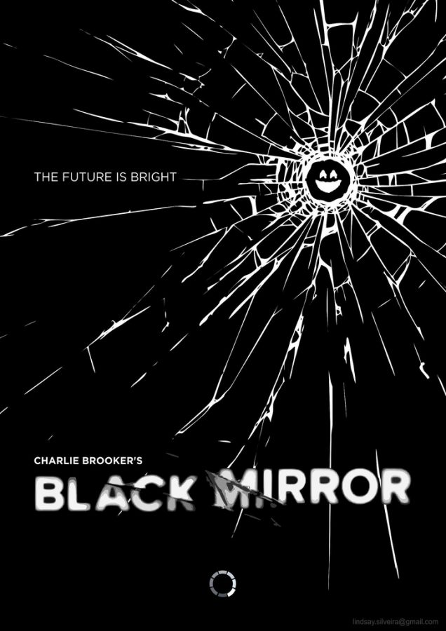 "Black Mirror's poster shows a screen shattered to look like a smile with the tagline ""The Future Looks Bright"". The show's title comes from how the black screens of turned-off electronics function as mirrors."