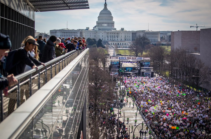 A view of the March For our Lives, from March 24, 2018. This picture was taken from the balcony of the Newseum. The DC March was one of the largest people's marches on D.C. in history, with an estimated over 800,000 people in attendance.