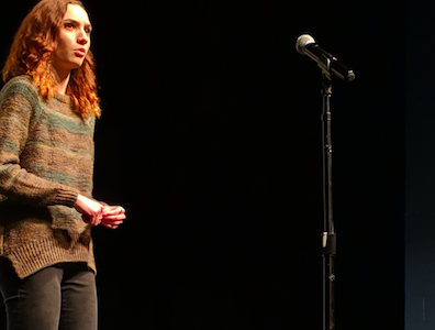 "Hannah Dembosky performs the poem ""Today"" by Billy Collins. The showcase included dances, films and speeches from those involved in the fundraiser."