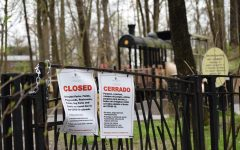 A playground in Bluemont Park displays a sign closing it to the public. Arlington closed park facilities, including parks, playgrounds, fields, restrooms, tracks, dog parks and athletic courts, along with schools on March 23. Governor Ralph Northam issued a stay-at-home order on Monday, March 30, making it a misdemeanor to congregate in groups of more than ten in both public and private areas, whether indoor or outdoor.
