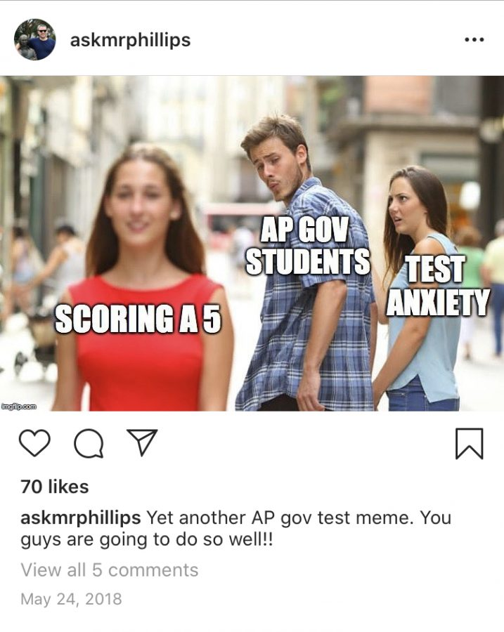 AP Psychology and Government teacher Mr. Kevin Phillips uses his school media account to post about his students, displaying their creativity. He allows them to follow the account.