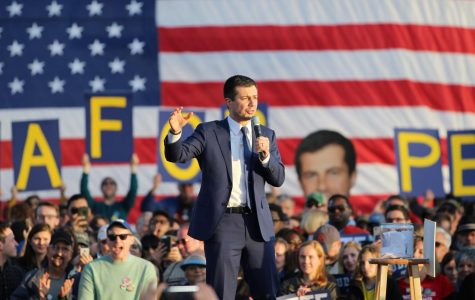 Pete Buttigieg speaks at a rally that took place on Washington-Liberty's field. The rally attracted almost 8,000 people.