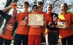 The Keefe family participates in the virtual Turkey Trot. The route they chose ended at Lyon Park, where the race would have begun in another year.