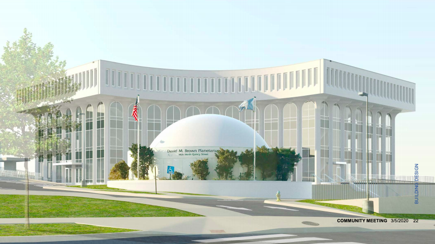 A front view of the Ed Center and the planetarium.