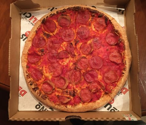 This is a cheese-less pepperoni pizza from Deli Italiano. Deli Italiano is a great pizza place to go to for pizza and their accommodations for those with food allergies.