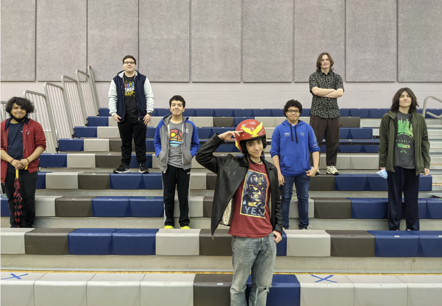 The Super Smash Bros club poses for a club photo, Richard Martinez in the top left.