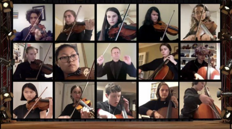 Henry Nissen and the rest of the orchestra perform virtually.